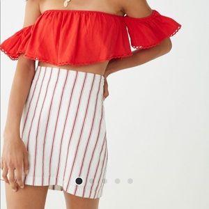 White and red stripe mini skirt